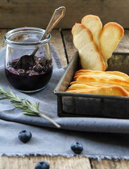 Blueberries in Rosemary Wine with Langues de Chat Biscuits | Anne's Kitchen