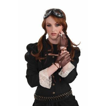 Brown New Steampunk Fingerless Gloves