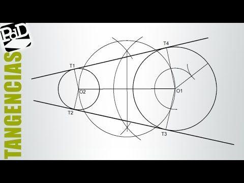 Circunferencias tangentes a un recta pasando por dos puntos. (Tangencias / Potencia) - YouTube