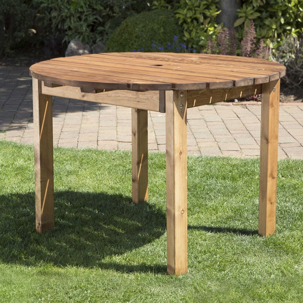 4 Seater Circular Garden Dining Table Lawn Patio Outdoor Summer Wooden Furniture Round Wooden Dining Table Wooden Garden Table Patio Table