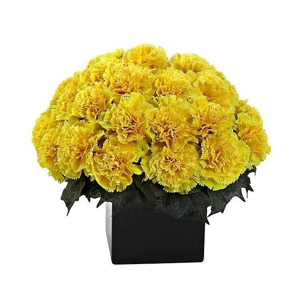 Nearly natural carnation arrangement with vase yellow 53 nearly natural carnation arrangement with vase yellow 53 liked on polyvore featuring artificial mightylinksfo