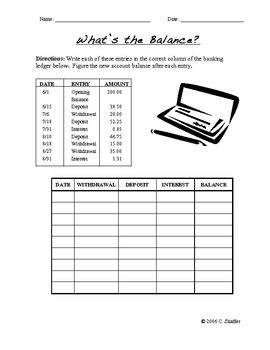 Calculate The Bank Account Balance Worksheet With Answer Key Financial Literacy Lessons Life Skills Lessons Consumer Math