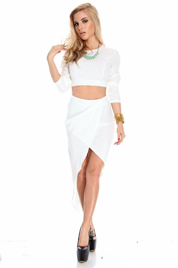 WHITE TWO PIECE OUTFIT LONG SLEEVE SKIRT,Sexy Party Dresses-Sexy ...