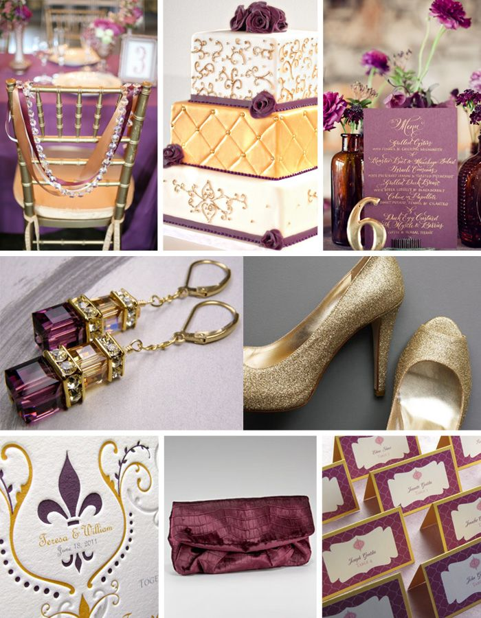 Purple and gold inspiration board from Bow Ties & Bliss #plumgoldpalette #plumgoldwedding
