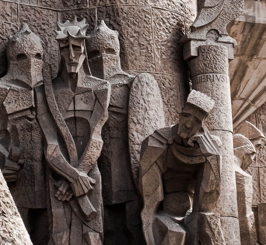 Detail of Gaudi's style - Sagrada Familia basillica in ...
