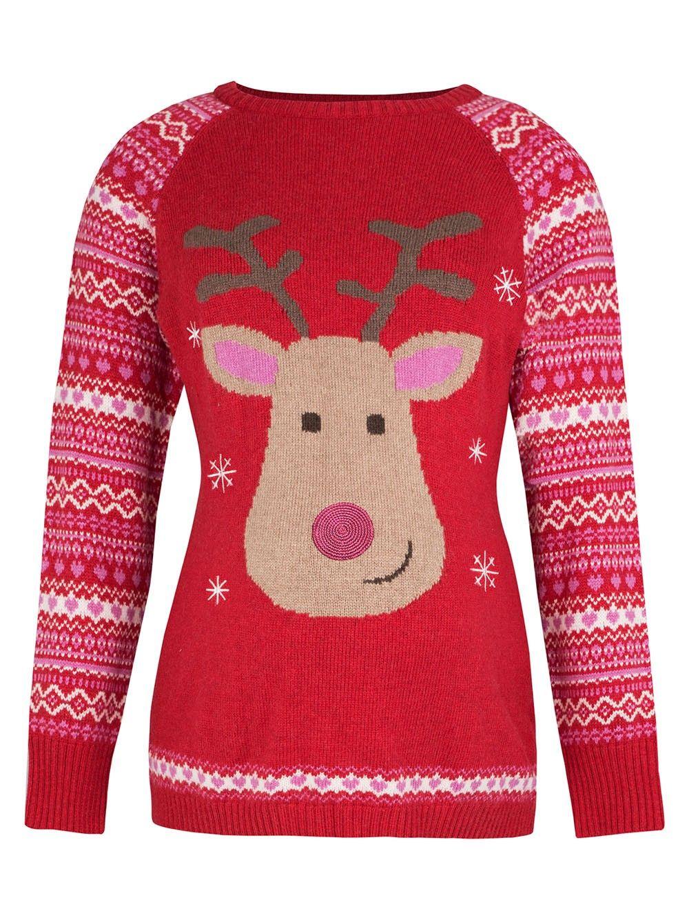 Jojo Christmas Sweater.Red Reindeer Maternity Christmas Jumper Jojo Maman Bebe