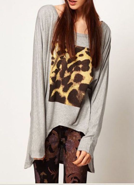 Long Sleeve High Low T-shirt with Printing
