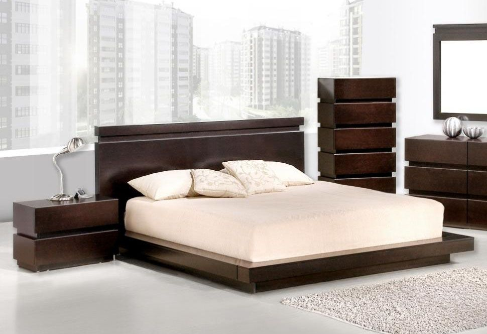 High Class Wood Platform And Headboard Bed Wood Bedroom Sets