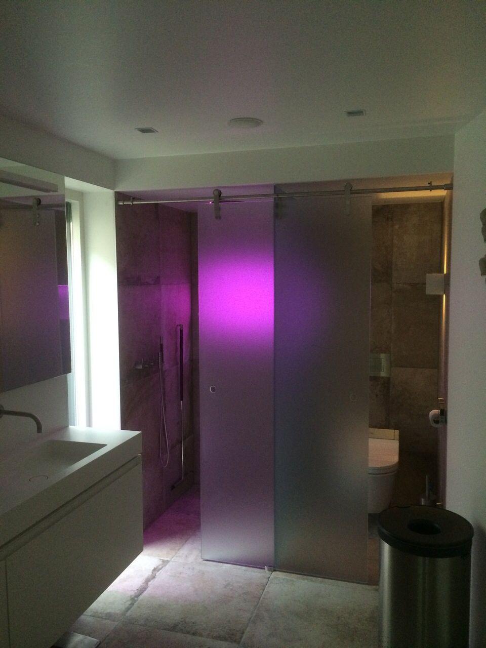 RVS schuifdeur BD22 combinatie douche en toilet in mat glas