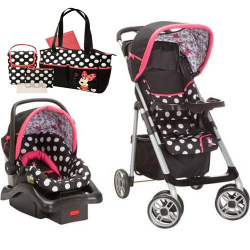 disney stroller travel system car seat combo baby girl diaper bag bundle set