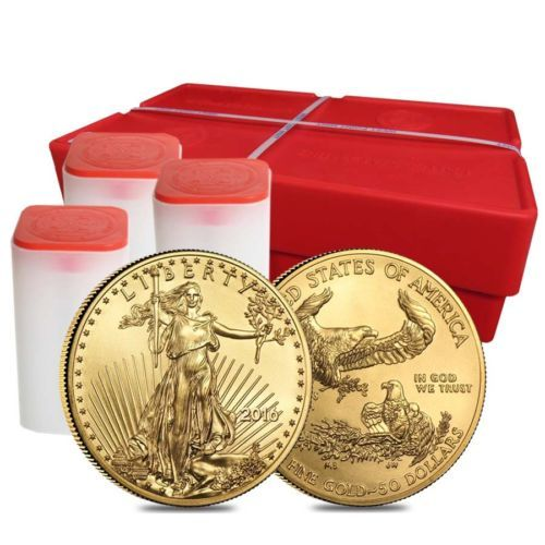 Monster Box Of 500 2016 1 Oz Gold American Eagle 50 Coin Bu 25 Lot Tube Of 2 Gold American Eagle Monster Box Coins