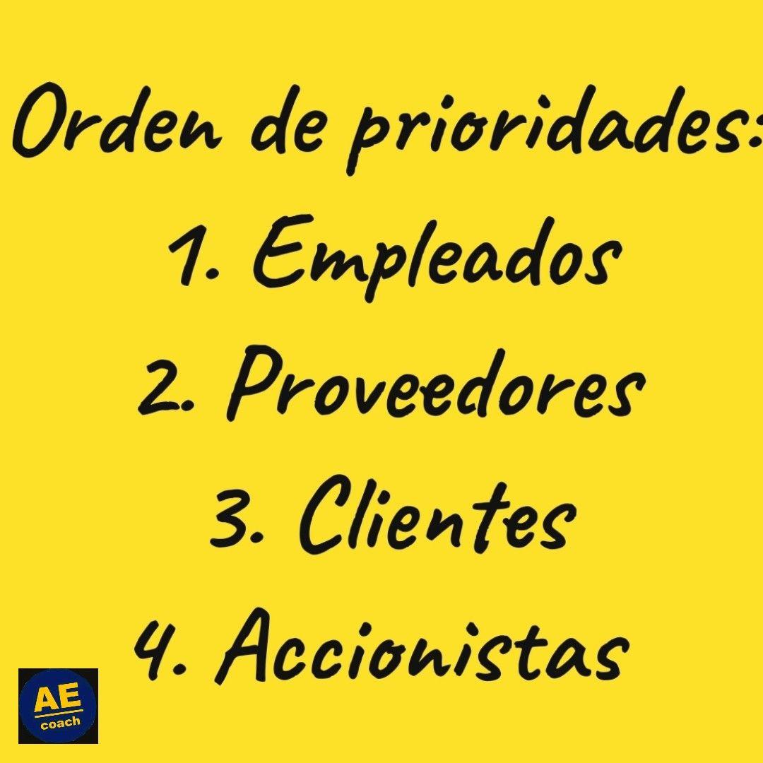 Prioridades El orden de las prioridades en una empresa que crea un legado