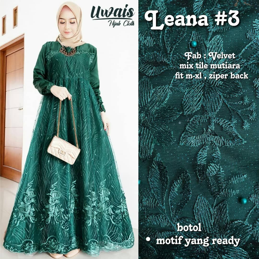 Best seller gamis pesta Bahan velvet mix tile mutiara Size m-xl