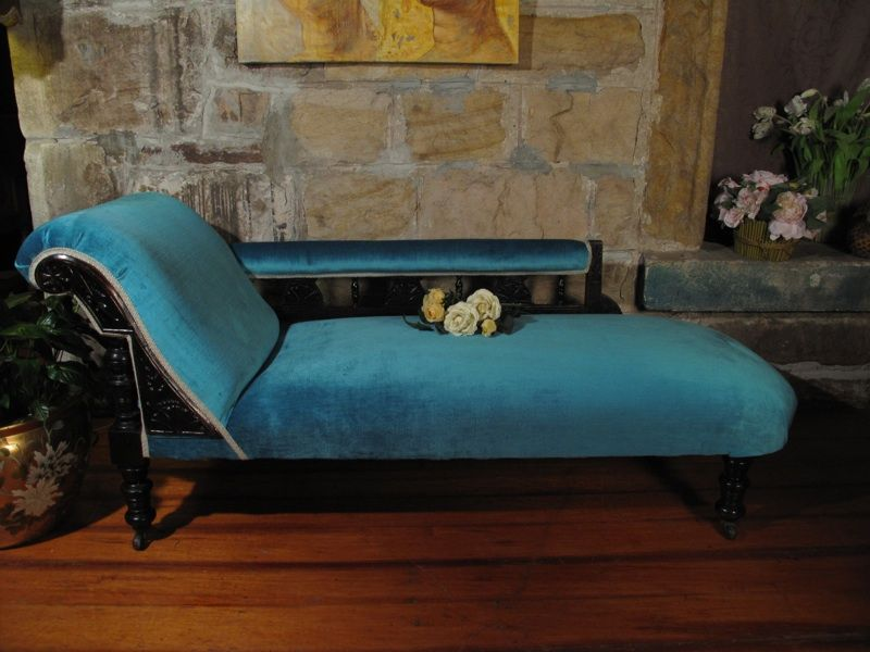 Antique Chaise Lounge Chair Sofa Daybed Turquoise Blue