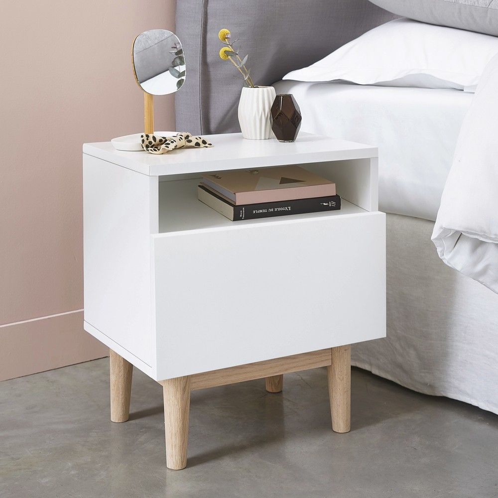 Vintage Bedside Table In White White Bedroom Furniture