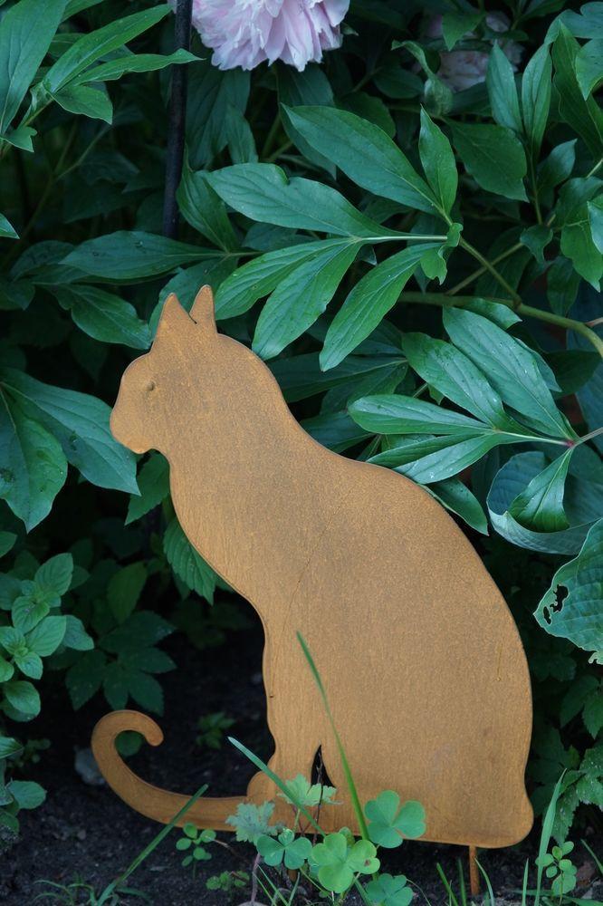 Edelrost gartenstecker beetstecker katze eisen rost for Gartendekoration aus rost