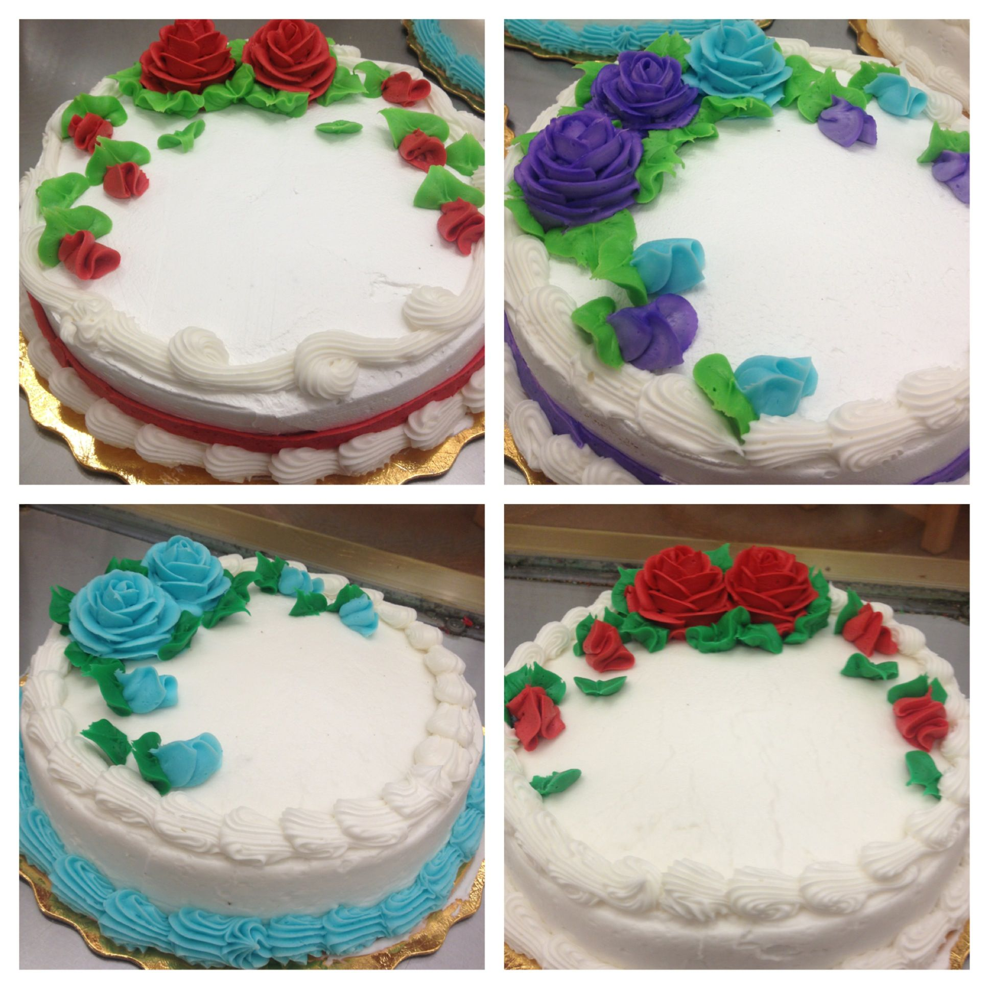 Single Layer Cakes With Roses