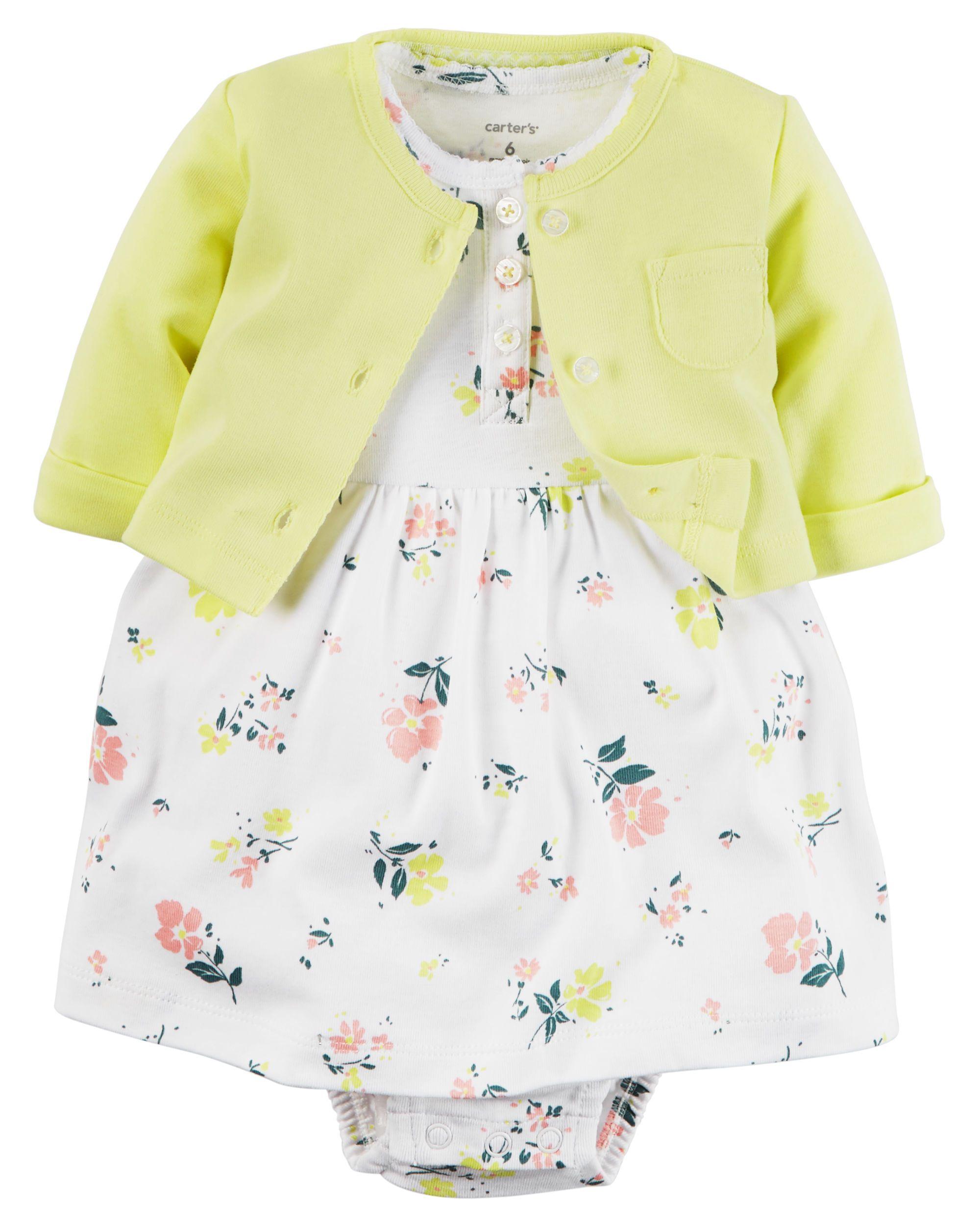 1f3683f49082 Ensemble 2 pièces robe cache-couche et cardigan très doux pour bébés filles…
