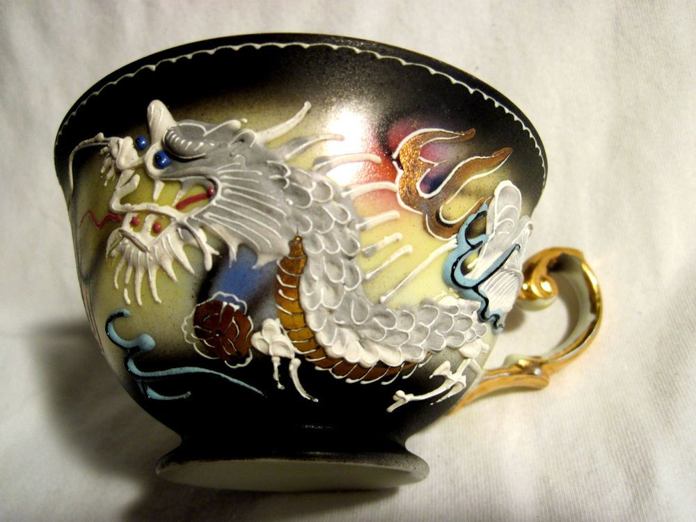 Vintage Japan Dragon Ware Moriage Tea Cup With Stunning