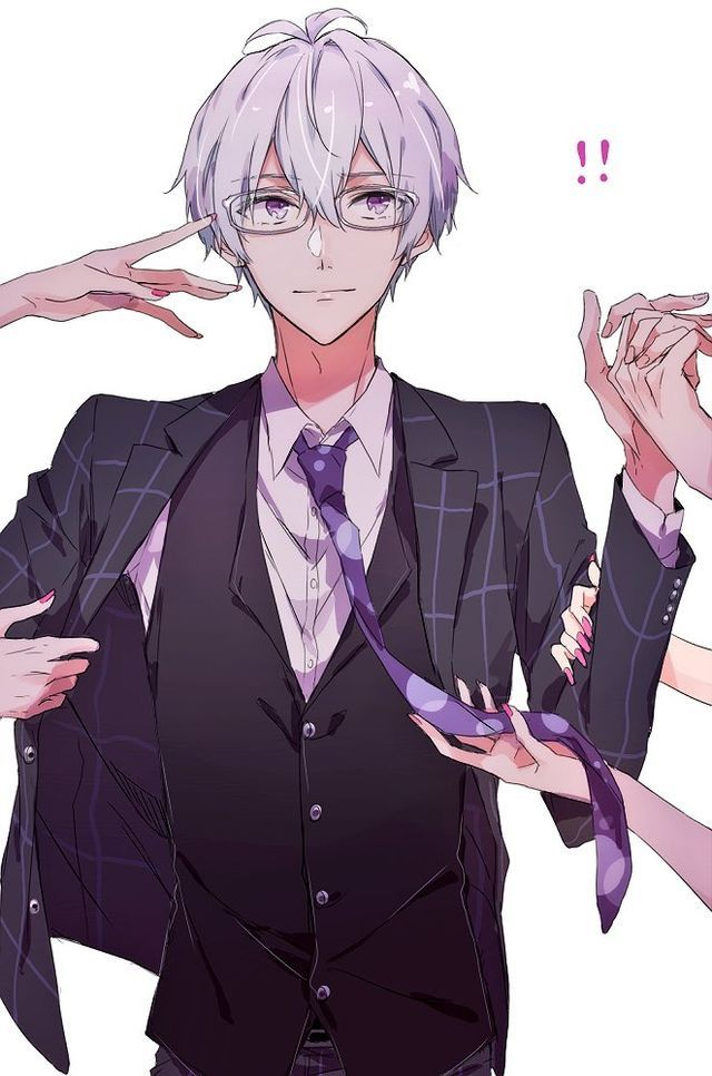 Glasses Purple Eyes White Hair Idolish7 Pinterest Anime Guys