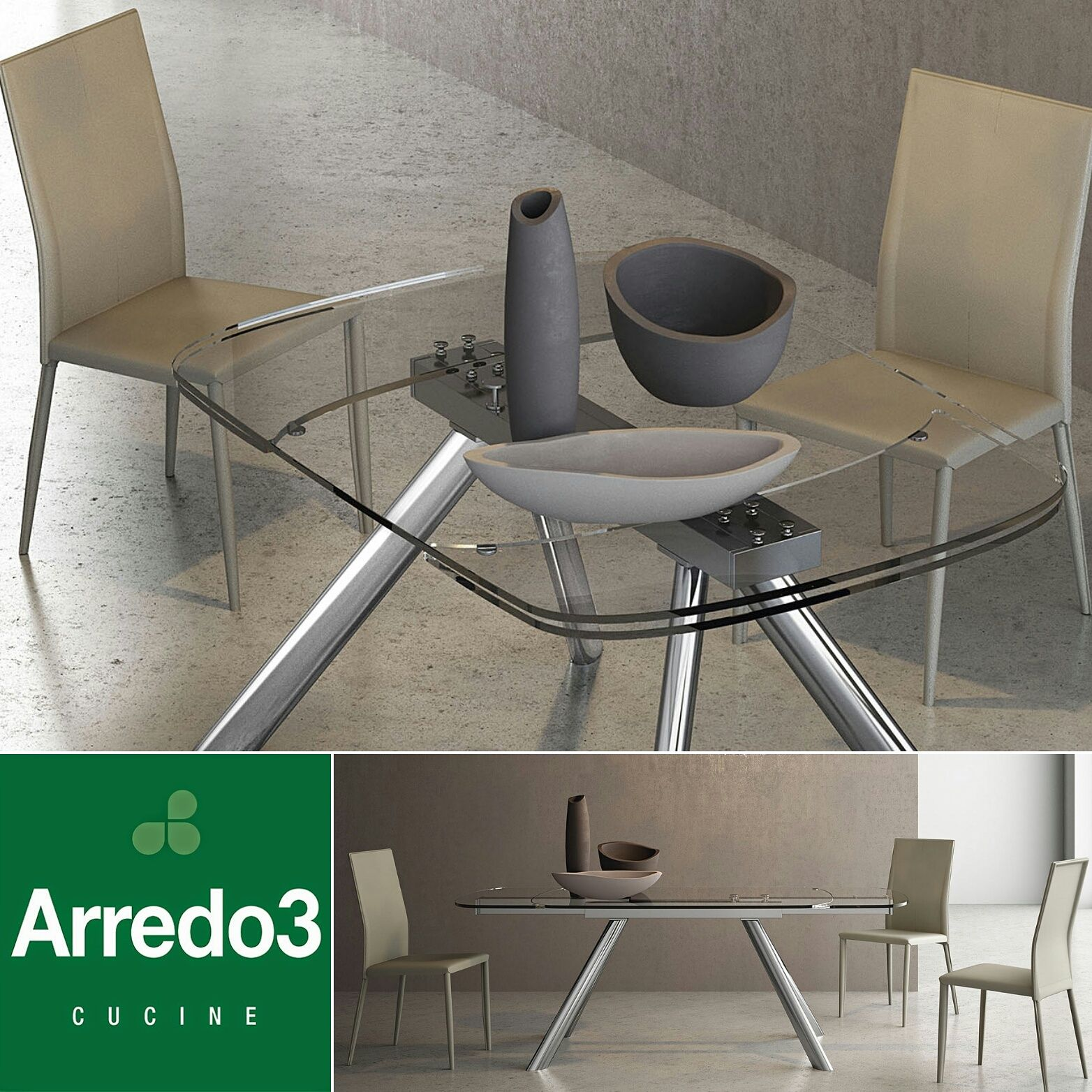 Tavoli Moderni : SIVIGLIA, con struttura in metallo e top in vetro ...