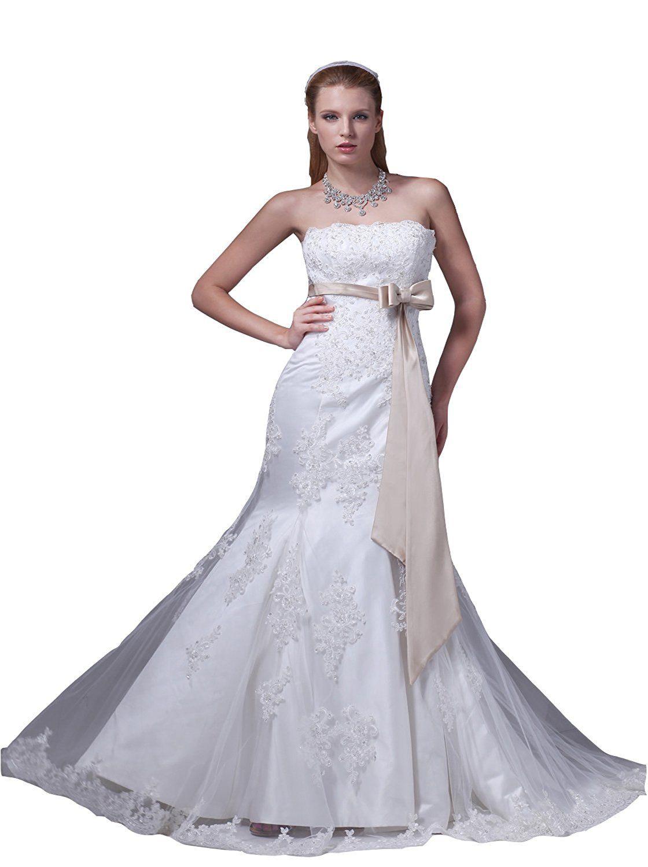 Mermaid lace wedding dress  Angel Formal Dresses Womenus Strapless Mermaid Lace and Applique