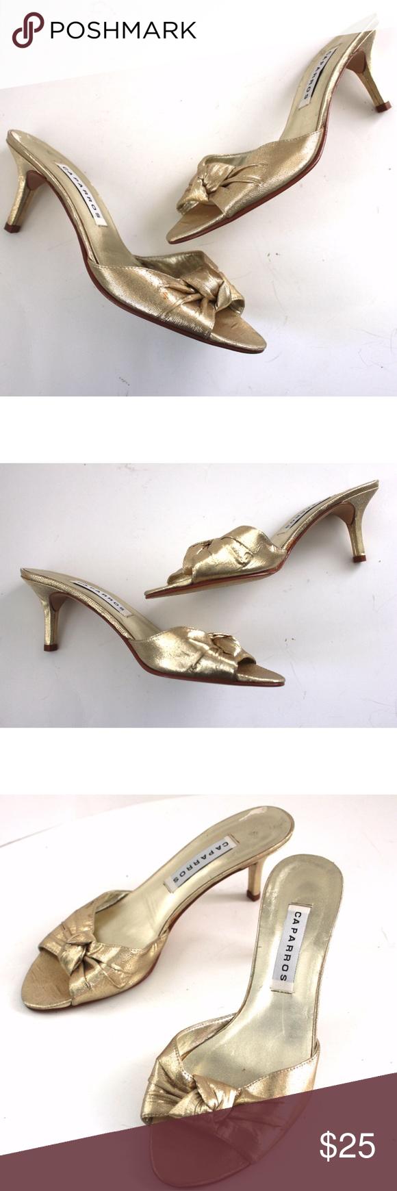 Metallic Gold Knotted Open Toe Mule Kitten Heel Kitten Heels Heels Open Toe Mules