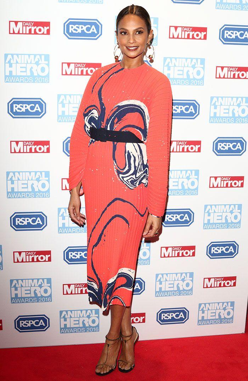 Alesha Dixon in orange printed dress