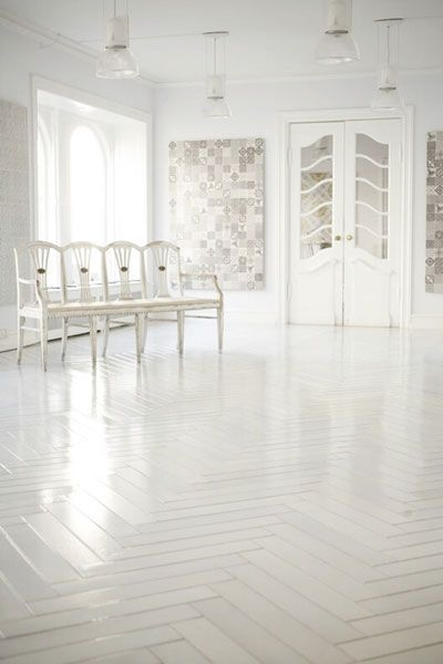 white tile floor. made a mano  white herringbone tiles floor Can this be done with engineered