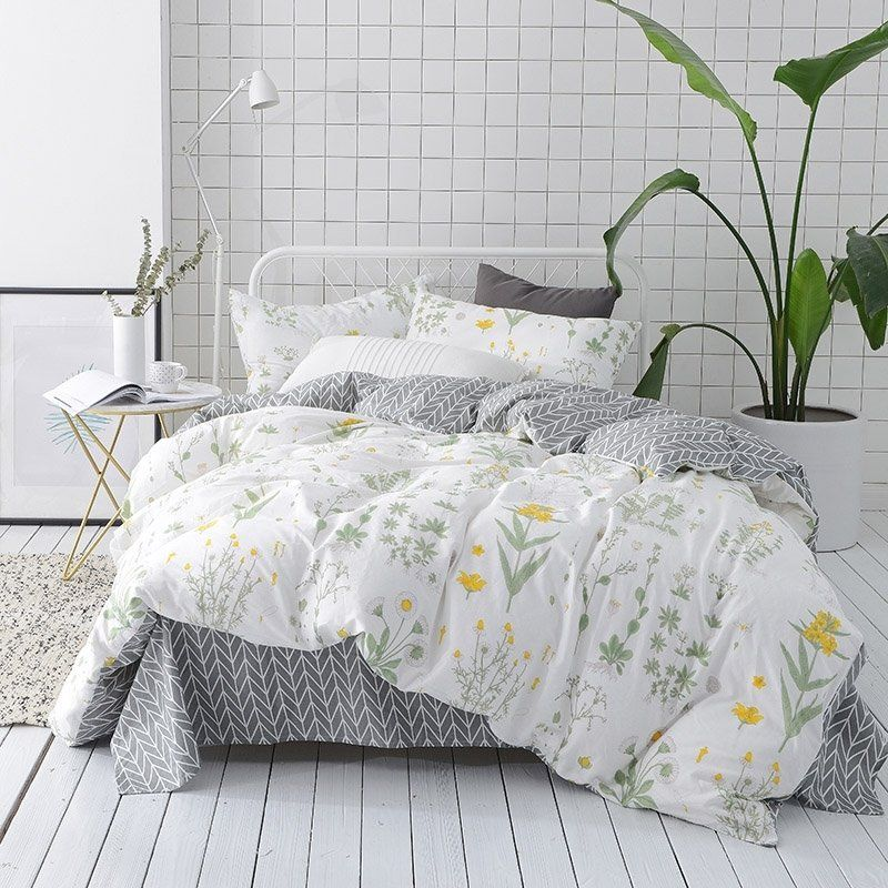 Funky Army Green Yellow White And Gray Country Wildflower Print Tropical Hawaiian Style 100 Cotton Twin Full Bedding Sets Queen Bedding Sets Duvet Cover Sets