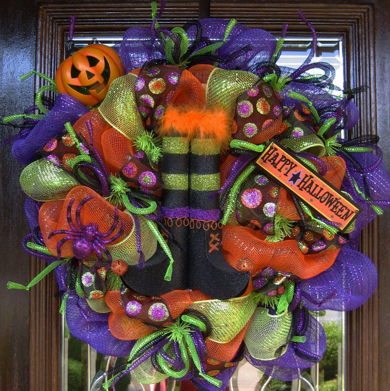 Deco Mesh WITCH'S BOOTS | Wreaths | Halloween mesh wreaths ...