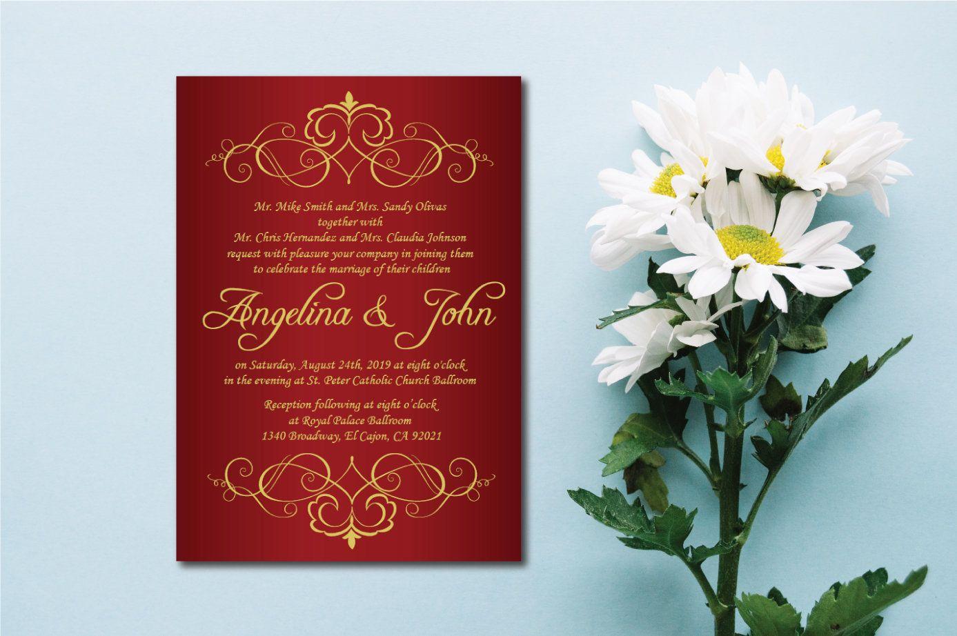 Gold & Burgundy Wedding Invitation Printable/E-Card Wedding ...