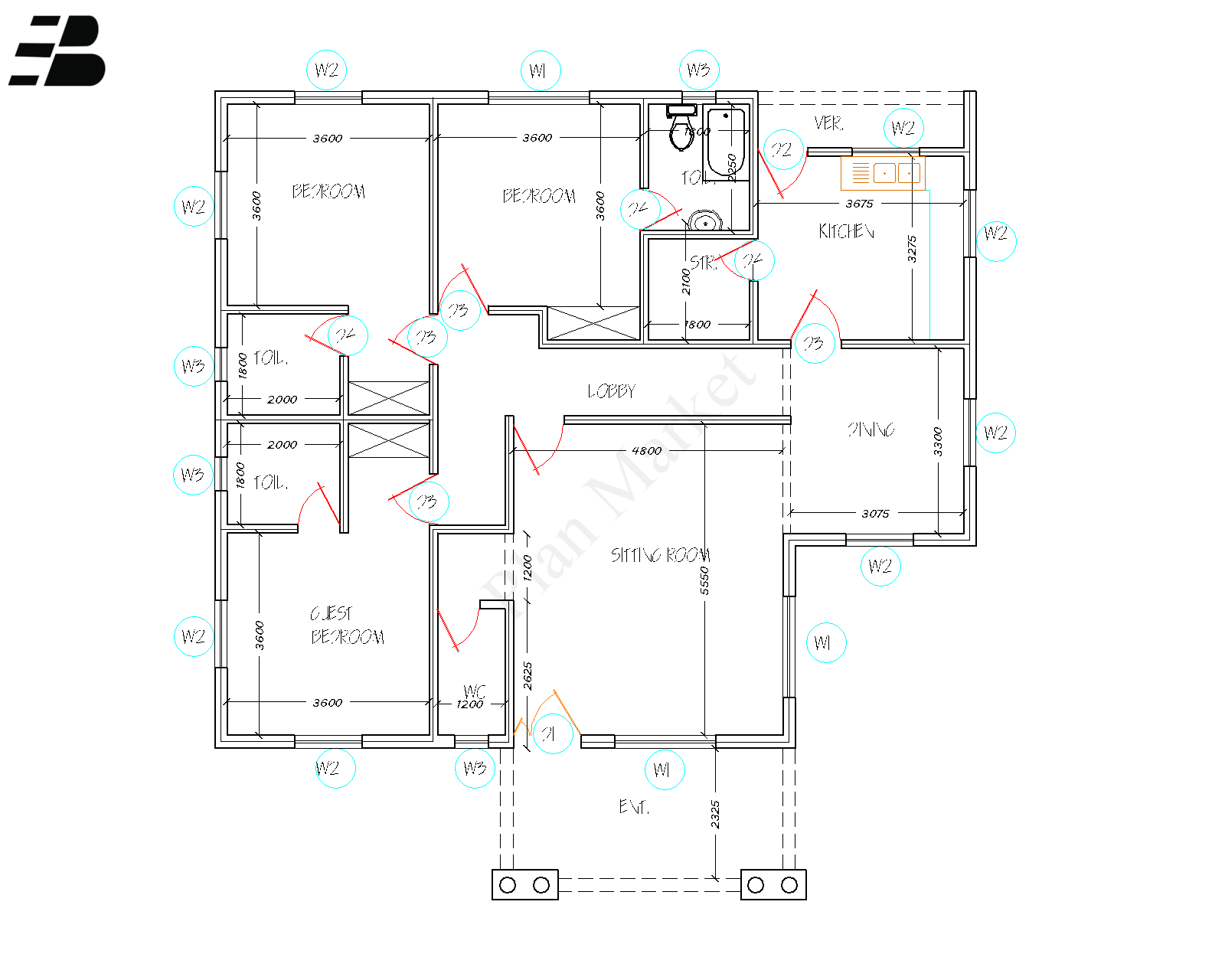 3 Bedroom Flat Plan Market 3 Bedroom Flat Architectural House Plans Modern Bungalow House