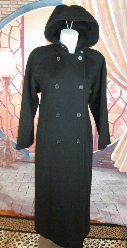 c12cf070d91 CK Calvin Klein Double Breasted Black Wool Hooded Coat Women s Full Length  Sz 8  CalvinKlein  Military  All