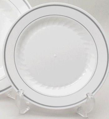 Masterpiece Plastic 6 Inch Plates White W Silver Rim 15 Count By Wna Comet Http Www Amazon Com Dp B000pbyv2c Ref Plastic Plates White Plastic Plates Plates