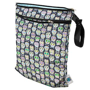 Planet Wise Wet/Dry Bag - Carnival Skulls  Love that this has a part to store clean diapers but I especially Love the print
