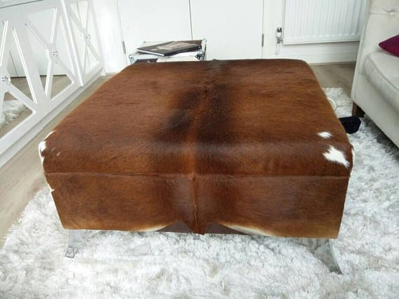 extra large cowhide footstool/coffee table with extra large