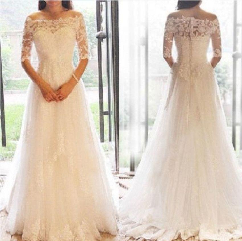 Elegant Tulle Lace Appliques Boat Neck A-Line Floor Length Wedding Dress Hot Sale Half Sleeves Vestido De Noiva China VB041