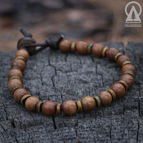Brown Leather Tibetan Silver Spiral /& Wooden Design Surf Necklace