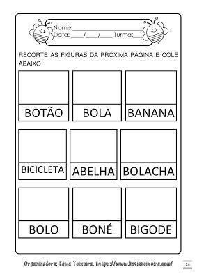 Atividades Para Alfabetizacao Letra B Com Imagens Atividades