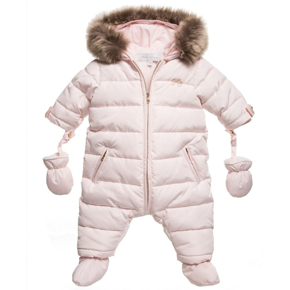 Tartine Et Chocolat Baby Girls Pink Snowsuit With Fur