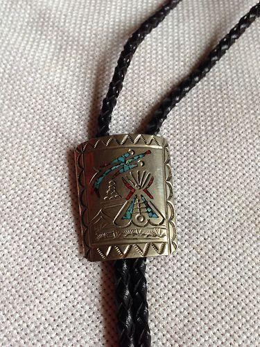 Navajo Design Neck Bolo Tie With Chip Inlay Turquoise  $15