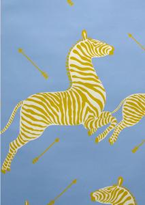 Zebra Wallpaper Blue Yellow Zebra Wallpaper Zebras Eclectic Wallpaper