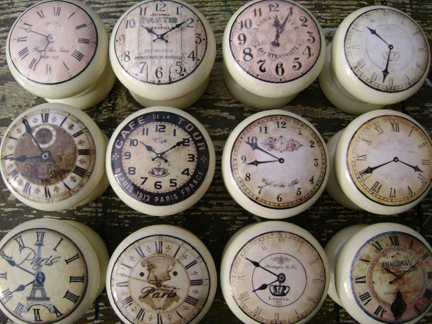 set of 8 cream vintage clocks 45mm shabby chic wooden drawer