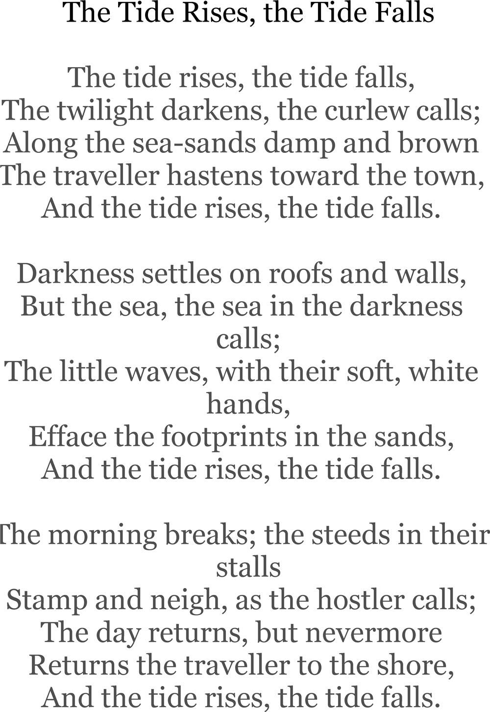 the poet and his songs by henry wadsworth longfellow the tide rises the tide falls by henry wadsworth longfellow annabelchaffer