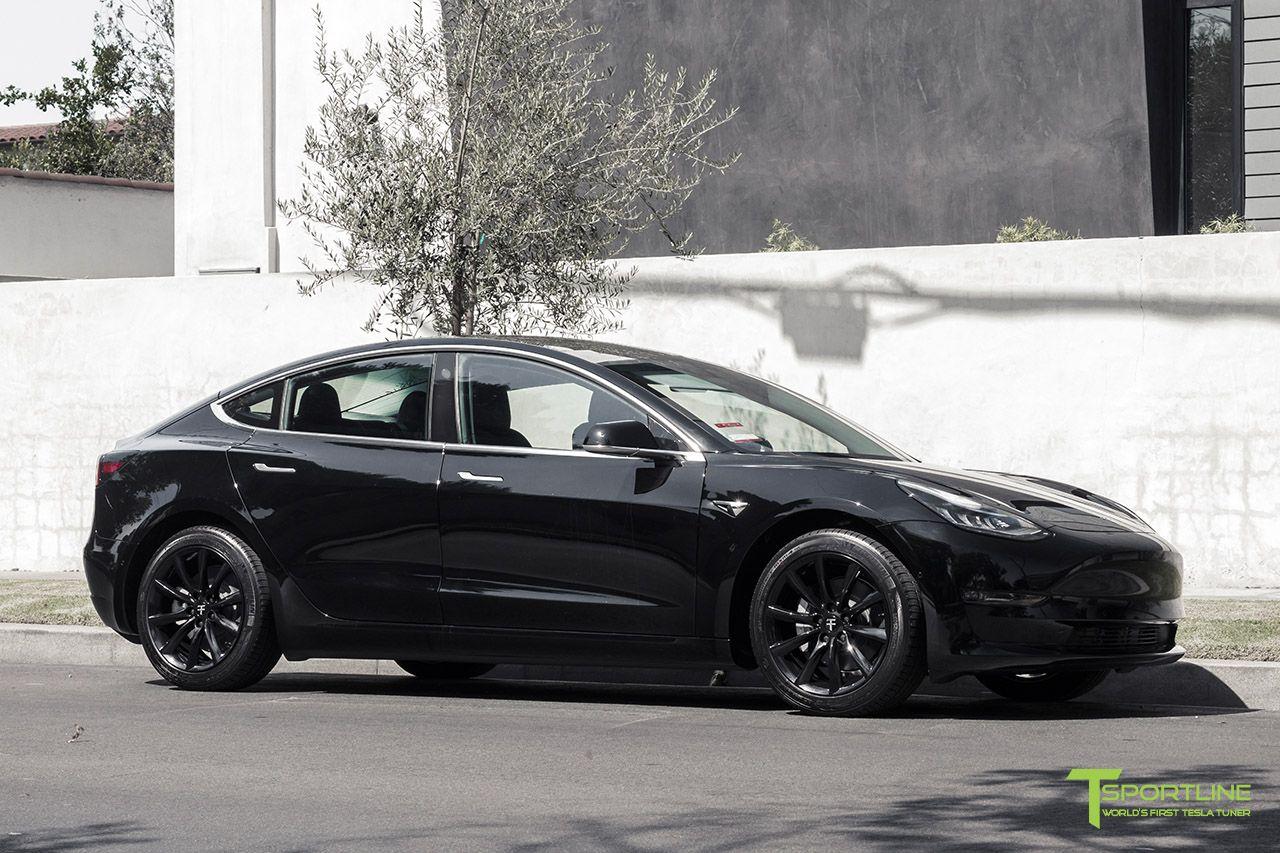 Black Tesla Model 3 With Gloss Black 18 Tst Flow Forged Turbine Style Wheels By T Sportline Tesla Model Tesla Performance Wheels