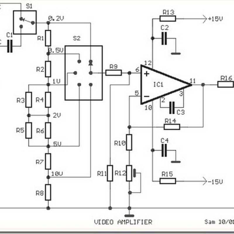 video amplifier simple circuit diagram with op