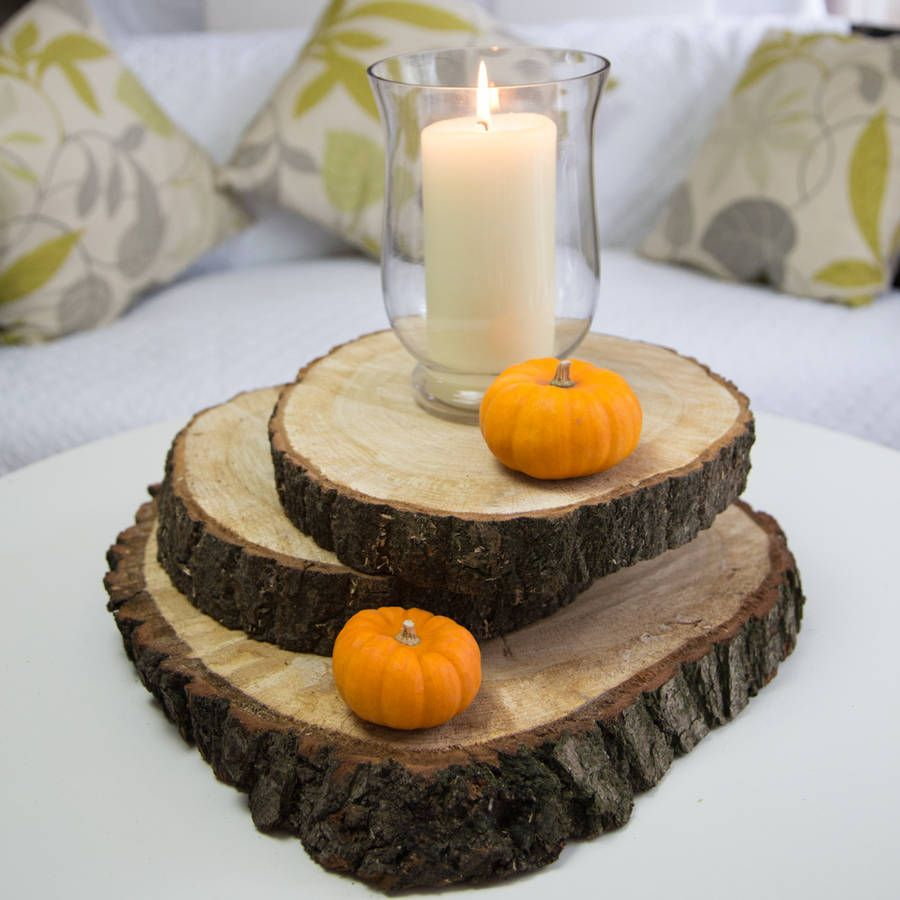 Large oak wood log slice table center piece
