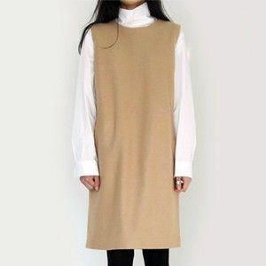 Woolen Sleeveless Shift Dress