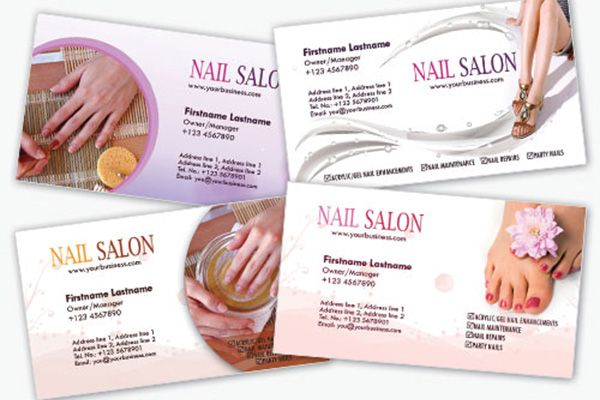 A set of four print ready nail salon business cards templates - free sample business cards templates